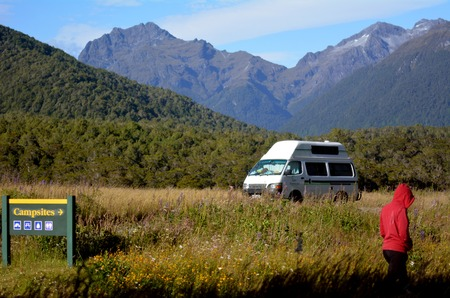 nz: FIORDLAND, NZ- JAN 14:Tourist visit in Fiordland on Jan 14 2014.Its one of the most dramatic and beautiful parts of New Zealand and the largest of NZ national parks.