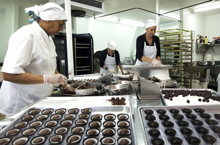 KERIKERI, NZ - JAN 07: Chocolate factory worker prepares dipped Chocolate balls on Jan 07 2014.In 2006 more than 6.5 million tons of chocolate was traded worldwide.