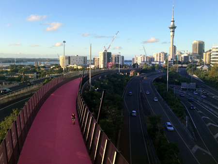 urbanism: AUCKLAND - MAR 27 2016:Bright pink cycleway in Auckland New Zealand.The cycleway inner city cycling and pedestrians network is New Zealands biggest urban cycling infrastructure ever built.
