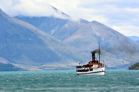newzealand: QUEENSTOWN, NZ - JAN 16:TSS Earnslaw on Jan 16 2014.Its one of the oldest tourist attractions in Otago and the only remaining commercial passenger coal-fired steamship in the southern hemisphere.