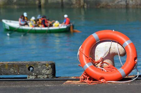 lifesaving: Lifesaving ring buoy on a wharf.