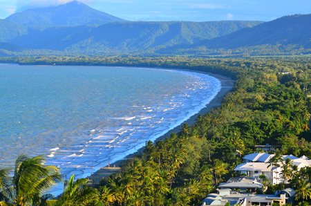 port douglas: Aerial landscape view of Four Mile Beach in Port Douglas in the tropical north of  Queensland,  Australia.