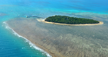 great barrier reef marine park: Aerial view of Green Island reef at the Great Barrier Reef near Cairns in Tropical North Queensland, Queensland, Australia.