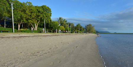 cairns: Cairns Esplanade beach, a very popular tourist travel destination in Cairns Queensland, Australia. Stock Photo
