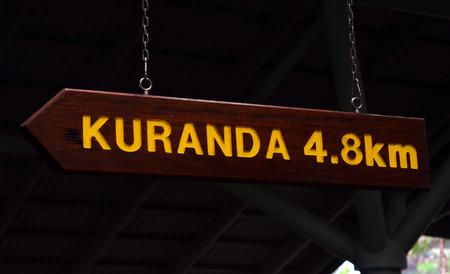 tableland: Arrow signpost show the way to Kuranda town in Queensland Australia in the Atherton Tableland tropical north of Queensland, Australia