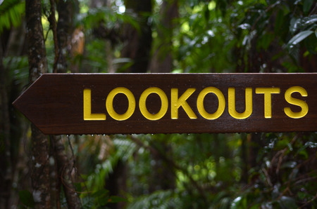 rain forest background: A wooden sign points to lookouts direction with a rain forest background Stock Photo