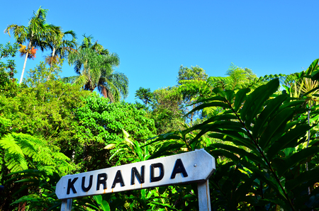 tableland: Wooden signpost Kuranda town in Queensland Australia in the Atherton Tableland tropical north of Queensland, Australia