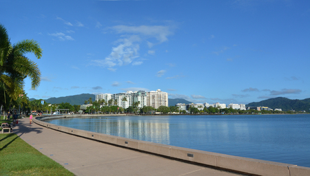 cairns: Panoramic landscape view of Cairns waterfront skyline in Queensland Australia Stock Photo
