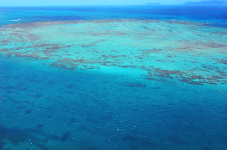 great barrier reef marine park: Aerial view of Upolu coral reef at the Great Barrier Reef near Cairns in Tropical North Queensland, Queensland, Australia.