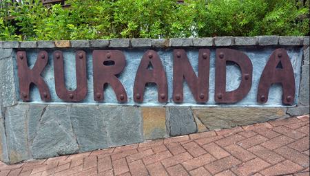 tableland: Street signpost of Kuranda town in Queensland Australia in the Atherton Tableland tropical north of Queensland, Australia