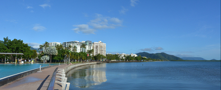 cairns: Panoramic view of Cairns waterfront skyline in Queensland Australia