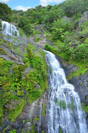 cairns: Stoney Creek Falls descends from the Atherton Tablelands to the Cairns coastal plain, in Queensland, Australia. Stock Photo