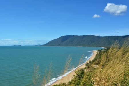 port douglas: Aerial view of Wangetti Beach from Rex Look Out in the Far North of tropical Queensland, Australia.