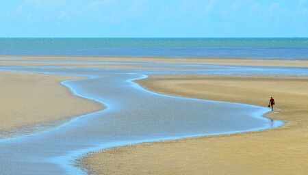 port douglas: A person walks along a  stream on a wild beach on the Pacific ocean in the tropical north of  Queensland, Australia.