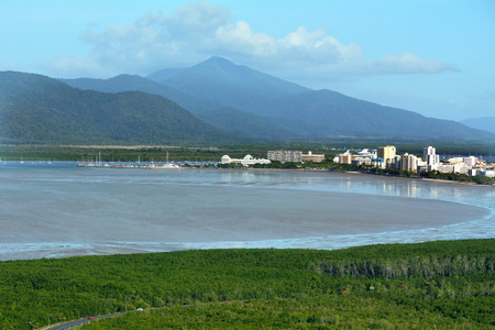 cairns: Aerial view of Cairns the biggest city in the far tropical north of Queensland Australia. Stock Photo