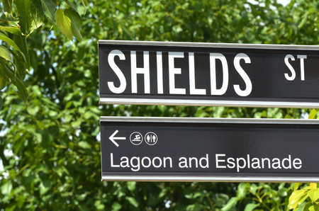 cairns: Shields street sign in Cairns city center in Queensland Australia. Stock Photo
