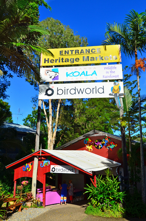 tableland: CAIRNS, AUS - APR 17 2016:The entrance to the Heritage Markets in Kuranda a popular travel destination at the Atherton Tableland tropical north of Queensland, Australia