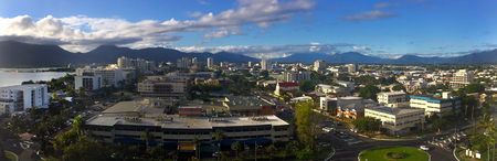 cairns: CAIRNS, AUS - APR 18 2016:Panoramic aerial view of Cairns in Queensland, Australia a popular tourists travel destination known for its tropical climate and access to the Great Barrier Reef.