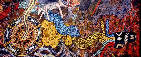 퀸즐랜드 - 2016년 4월 16일 : 원주민 호주 예술 도트 그림. 그것은 세계에서 예술의 가장 오래된 전통 양식의 하나입니다. 원주민 신화와 전설을 말해 표