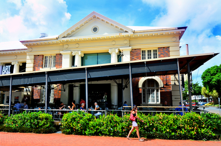 cairns: CAIRNS, AUS - APR 22 2016:Cairns Regional Gallery cafe in Queensland Australia, the premier place for exhibitions of historical and contemporary art by leading national and international artists.
