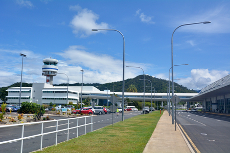 cns: CAIRNS, AUS - APR 14 2016:Cairns Airport control tower in Queensland Australia. It is the seventh busiest airport in Australia.