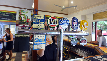 KURANDA, AUS - APR 16 2016:Selection of beers in Australian pub.There were almost 184 million litres of pure alcohol available for consumption in Australia in 2014 about 76 million litres was of beer. Sajtókép
