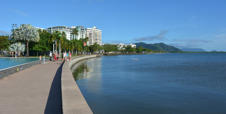 cairns: CAIRNS, AUS - APR 15 2016:Cairns Esplanade, a very popular tourist travel destination in Cairns Queensland, Australia. Editorial
