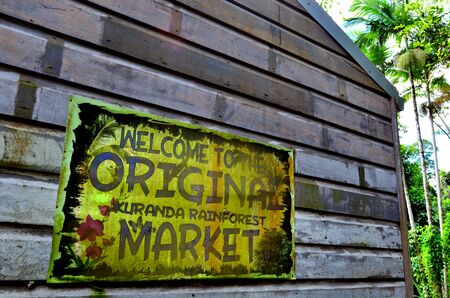tableland: CAIRNS, AUS - APR 16 2016:Sign of the Original Rainforest Market a popular travel destination in Kuranda at the Atherton Tableland tropical north of Queensland, Australia