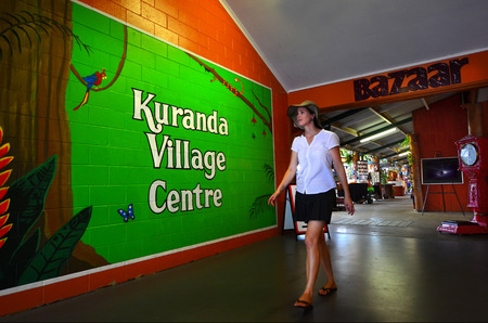 tableland: CAIRNS, AUS - APR 17 2016:Woman shopping  at Kuranda village centre a popular travel destination in Kuranda at the Atherton Tableland tropical north of Queensland, Australia Editorial