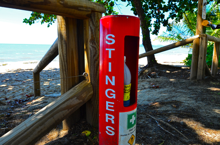 QUEENSLAND, AUS - APR 18 2016:Stinger first aid station relief on the beach.Australian Jellyfish such as the box jellyfish and Irukandji Jellyfish stings can cause death. Editorial
