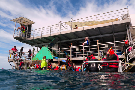 snorkelling: QUEENSLAND, AUS - APR 16 2016:People prepare to snorkelling and dive from a platform in the Great Barrier Reef in Queensland, Australia a popular tourist destination of 2 million visitors every year.