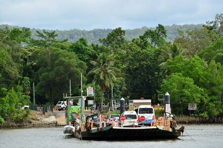 daintree: QUEENSLAND, AUS - APR 20 2016:Daintree River Ferry to Daintree National Park in the tropical north of Queensland, Australia founded in 1981 and became a World Heritage Site in1998.
