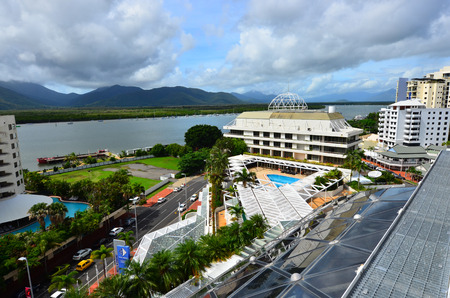 cairns: CAIRNS, AUS - APR 22 2016:Aerial view of Cairns, 5th most populous city in Queensland Australia and a popular tourists travel destination for its tropical climate and access to the Great Barrier Reef.
