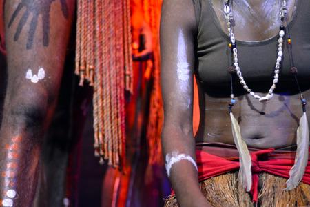 aboriginal woman: Yirrganydji Aboriginal woman and man during cultural show in Queensland, Australia.