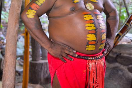 australian ethnicity: Details of Native Australian man with body painting of Yirrganydji Aboriginal warrior in Queensland, Australia.