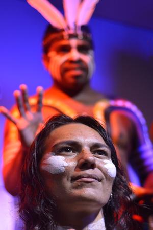 australian ethnicity: Yirrganydji Aboriginal woman and man during cultural show in Queensland, Australia.