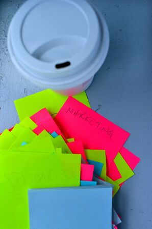 post it notes: Post it notes and a cup of coffee. Marketing concept