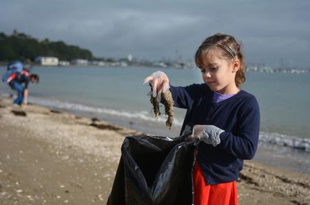 어린 소녀 (6 세)는 가족과 함께 해변에서 쓰레기를 집어 든다.