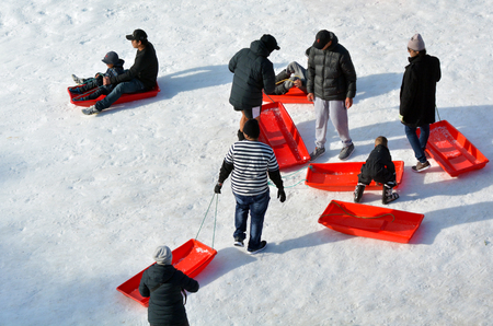 sledging people: NATIONAL PARK, NZL - JULY 12 2016:People with sleds in Whakapapa skifield on Mount Ruapehu in Tongariro National Park in the centre of New Zealands North Island