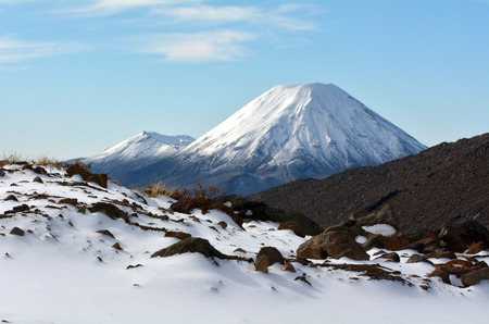 Winter landscape of Mount Ngauruhoe  and Mount Tongariro in Tongariro National Park, It was used as a stand-in for the fictional Mount Doom in Peter Jacksons The Lord of the Rings film trilogy. Stock Photo