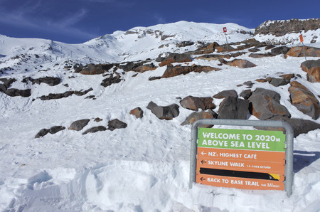 Sign on Mount Ruapehu summet  the highest mountain in the North Island of New Zealand (2020m above sea level) located in Tongariro National Park.