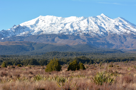 Landscape of Mount Ruapehu the highest mountain in the North Island of New Zealand (2020m above sea level) located in Tongariro National Park.