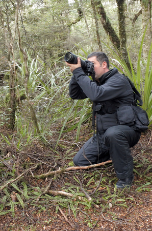 documenting: Professional nature, wildlife and travel photographer shooting outdoors during on location photo assignmet in Tongariro National Park rain forest, New Zealand. copy space.