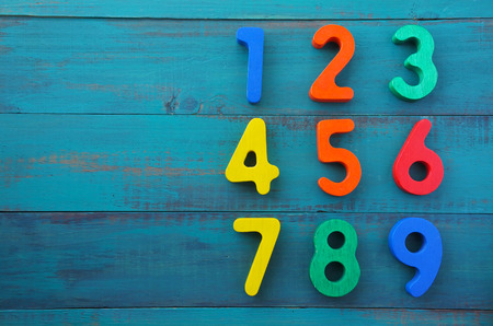 Preschool learn to count in order numbers from one (1) to nine (9). Education concept. Preschool learn numbers. copy space Stock Photo
