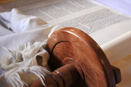 Selective focus of Torah scroll. Jewish lifestyle background