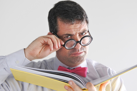express feelings: Frustrated man teacher looks at the camera. Education concept. real people copy space Stock Photo