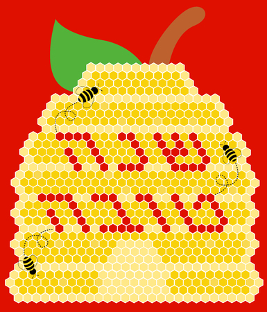 hashana: Vector illustration - Happy New Year (Hebrew) Rosh Hashana greeting card with apple, bees and a bee hive Illustration
