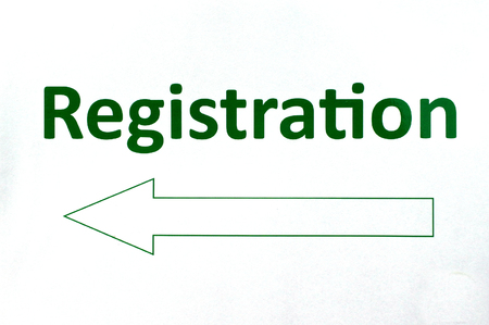signup: Registration sign with direction arrow.