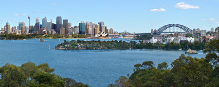 nsw: Panoramic view of Sydney skyline in New South Wales, Australia.