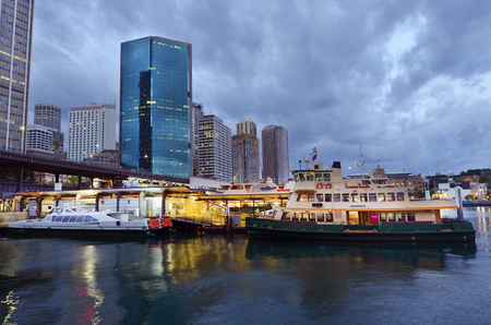 new south wales: Cityscape of Sydney Circular Quay at dusk in Sydney New South Wales, Australia. Stock Photo